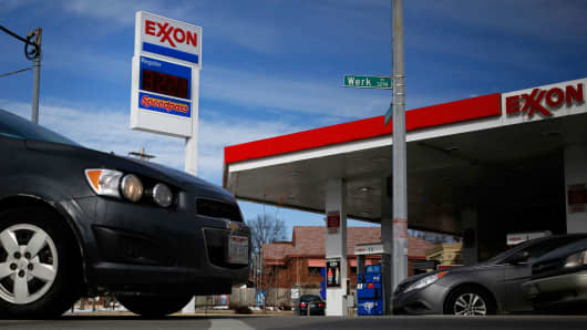 An Exxon Mobil station in Cincinnati, Ohio.