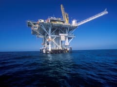 An offshore oil rig in the Channel Islands off the California coast.