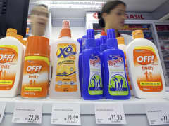 Repellants are displayed in a store in Sao Paulo, Brazil, February 3, 2016. Fear of the mosquito-borne Zika virus has Brazilians rushing to buy repellant, creating a shortage of some brands on pharmacy shelves and boosting sales for the industry - a trend