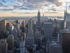 View of skyline and commercial real estate in New York City.