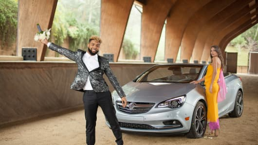 Odell Beckham Jr. and Emily Ratajkowski in the upcoming Super Bowl ad for Buick.