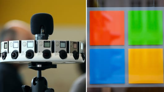 GoPro shares rise on Microsoft licensing deal.