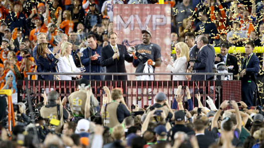 Super Bowl 50 MVP Von Miller #58 of the Denver Broncos celebrates with the Vince Lombardi Trophy following their win in the Super Bowl 50 at Levi's Stadium on February 7, 2016 in Santa Clara, California.