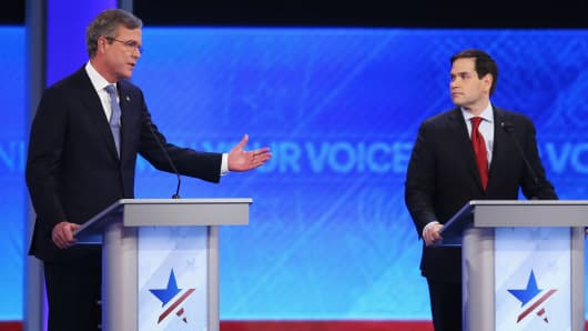 Republican presidential candidates Jeb Bush and Sen. Marco Rubio (R-FL) participate in the Republican presidential debate at St. Anselm College February 6, 2016 in Manchester, New Hampshire.