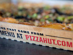 Pizza Hut pizza in a delivery box