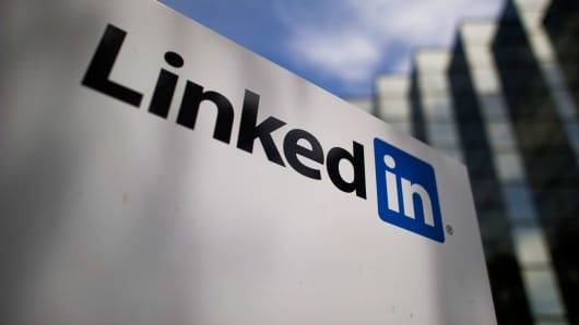 LinkedIn signage is displayed outside the company's headquarters in Mountain View, California.