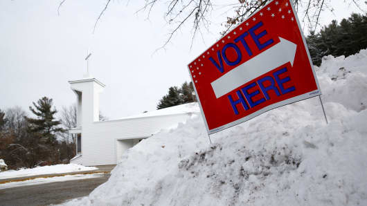 A sign is seen at a polling place at First Baptist Church in Nashua, New Hampshire February 9, 2016.