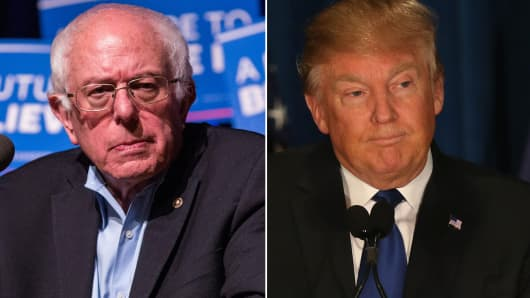 Sen. Bernie Sanders (L) and Donald Trump (R).