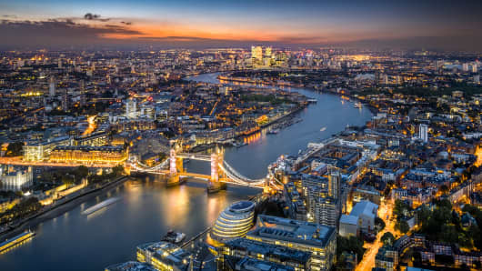 London Skyline with Tower Bridge at twilight
