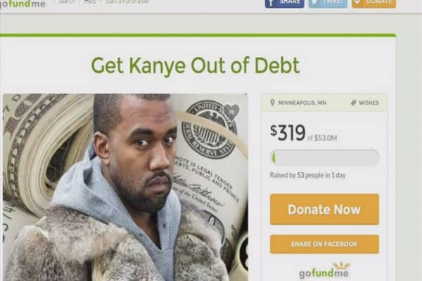 Crowdfunding page to get Kanye out of debt