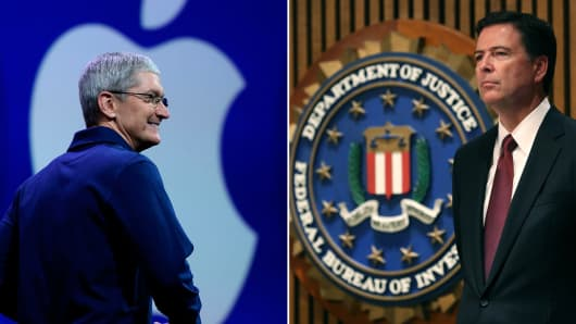 Apple CEO Tim Cook (left) and FBI Director James Comey.