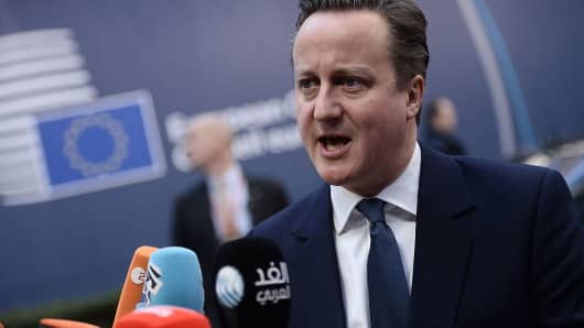 British Prime Minister David Cameron arrives an EU summit meeting on the so-called Brexit at the European Union headquarters in Brussels, on February 19, 2016