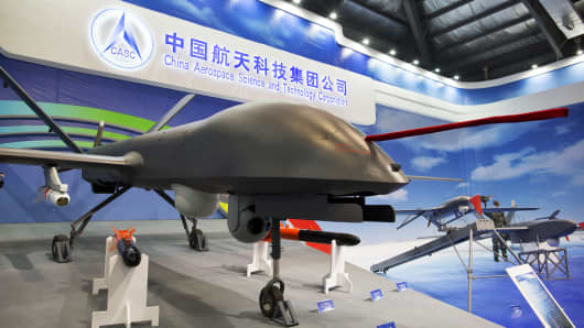 A China Aerospace Science and Technology Corporation (CASC) CH-4 unmanned aerial vehicle (UAV) stands on display during the China International Aviation & Aerospace Exhibition in Zhuhai, Guangdong province, China