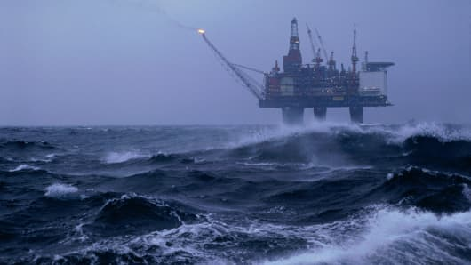 North Sea oil rig `Gullfaks C' in bad weather