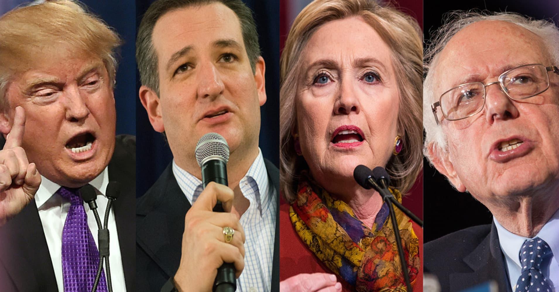 Donald Trump, Ted Cruz, Hillary Clinton and Bernie Sanders
