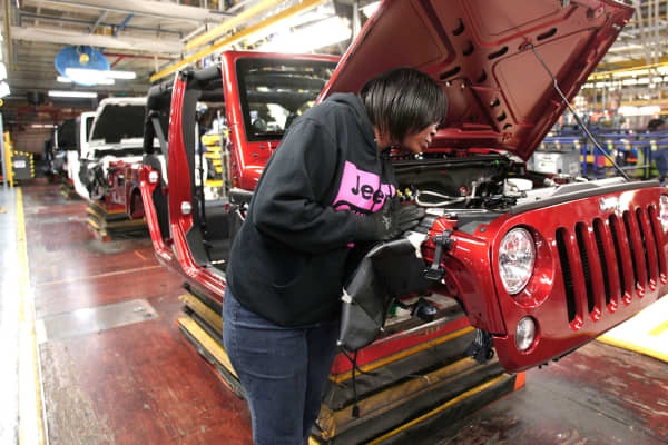 Production of Jeep Wrangler vehicles at the Chrysler Toledo North Assembly Plant in Toledo, Ohio.