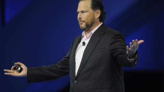 Marc Benioff speaks at the Salesforce keynote during Dreamforce 2015 at Moscone Center on September 16, 2015 in San Francisco, California.