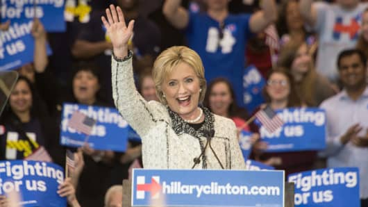 Democratic presidential candidate Hillary Clinton addresses a primary night rally in Columbia, South Carolina, on February 27, 2016, following her sweeping victory in the state's Democratic primary.