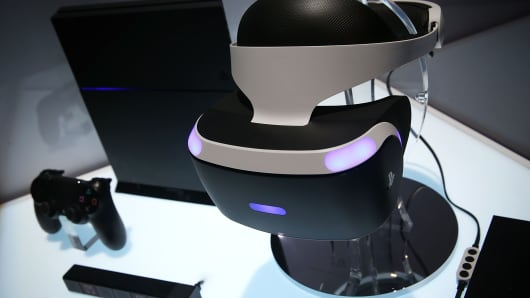 A reference model of the Sony PlayStation VR viewer is on display with a PlayStation 4 System during a press event for CES 2016 at the Mandalay Bay Convention Center on January 5, 2016 in Las Vegas, Nevada.