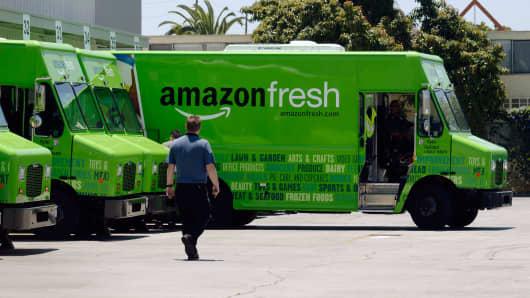 An Amazon Fresh truck