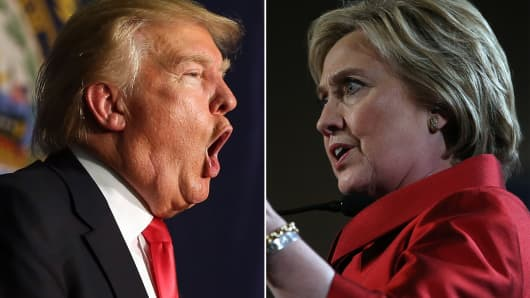 Donald Trump and Hillary Clinton battle to become their party's presidential nominee.