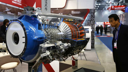 A Honeywell Aerospace T55 engine at the Seoul International Aerospace & Defense Exhibition in Goyang, South Korea.