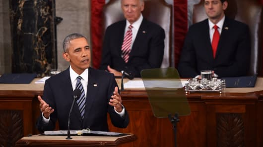 President Barack Obama delivering the State of the Union address on January 12, 2016 in Washington.