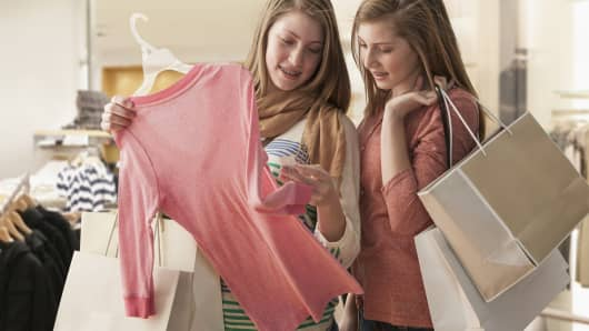 Teenage girls shopping