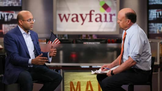 Niraj Shah, Wayfair CEO on set of Mad Money with Jim Cramer on Tuesday, March 1, 2016.