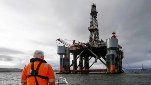 The Ocean Princess oil platform, operated by Diamond Offshore Drilling, in the Port of Cromarty Firth in Cromarty, U.K.
