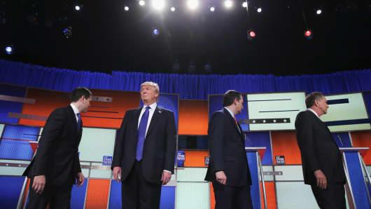 Republican presidential candidates (Lto R) Sen. Marco Rubio (R-FL), Donald Trump, Sen. Ted Cruz (R-TX), and Ohio Gov. John Kasich