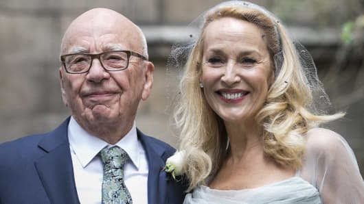 Rupert Murdoch and Jerry Hall seen leaving St Brides Church after their wedding on March 5, 2016 in London, England