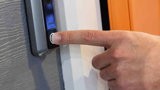 The Vivint Doorbell Camera is displayed at CES 2016, January 7, 2016 in Las Vegas.