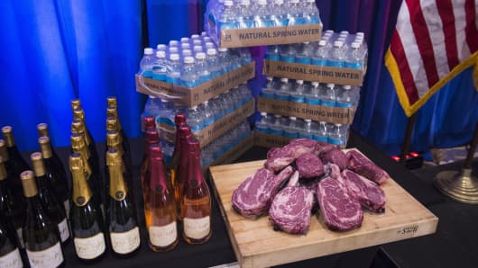 A display including Trump-branded wine, water and steaks is shown before a news conference by Republican presidential candidate Donald Trump at the Trump National Golf Club in Jupiter, Fla., on March 08, 2016.