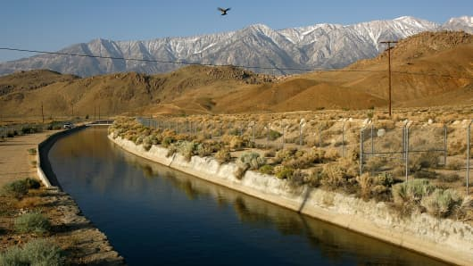 The Los Angeles Aqueduct carries water from the snowcapped Sierra Nevada Mountains