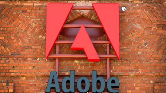 Adobe Systems signage is displayed outside of the company's office in San Francisco, California, U.S