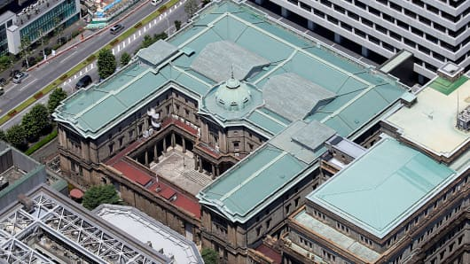 The Bank of Japan (BOJ) headquarters stands in this aerial photograph taken in Tokyo, Japan.