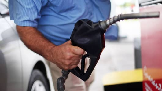 A motorist fills his vehicle with gas in Miami, Florida.