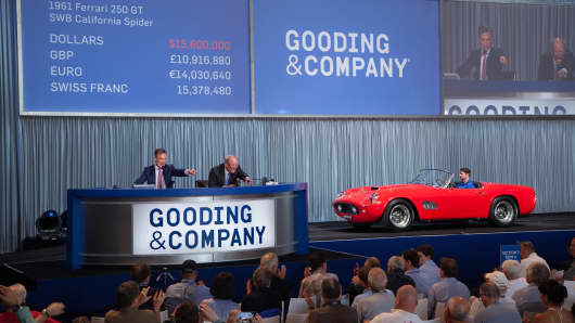 A 1961 Ferrari 250 GT California SWB Spider, sold by Gooding & Co. for $17.2M, was the star of the Amelia Island auctions.
