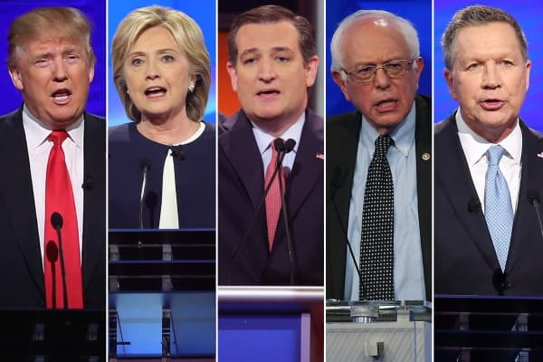 Presidential candidates: (L-R) Donald Trump, Hillary Clinton, Ted Cruz, Bernie Sanders and John Kasich