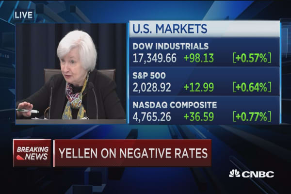 Yellen: Negative rates not part of active discussion