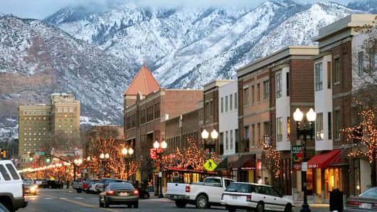 A scene showing 25th Street in Ogden, Utah.