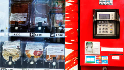 The first meat vending machine in Paris, March 15, 2016.