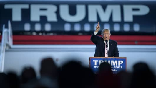 Presidential hopeful Donald Trump speaks during a rally March 14, 2016 in Vienna Center, Ohio.
