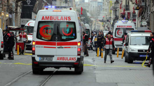Police secure the area following a suicide bombing in a major shopping and tourist district in central Istanbul March 19, 2016.