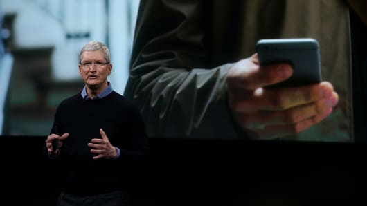 Apple CEO Tim Cook speaks during an Apple special event at the Apple headquarters on March 21, 2016 in Cupertino, California.