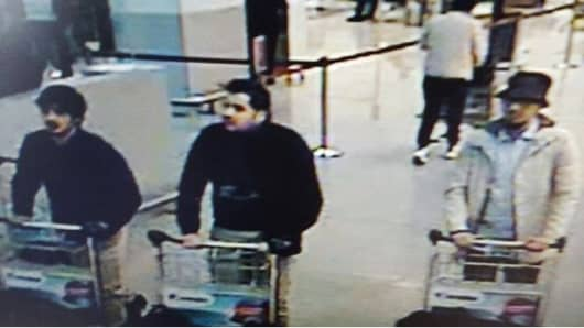 Belgian Federal police spokesperson's office confirming that the three men in photo are considered the suspects in Tuesday's airport bombing in Brussels.