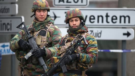 Belgian troops control a road leading to Zaventem airport following Tuesday's airport bombings in Brussels, Belgium, March 24, 2016.