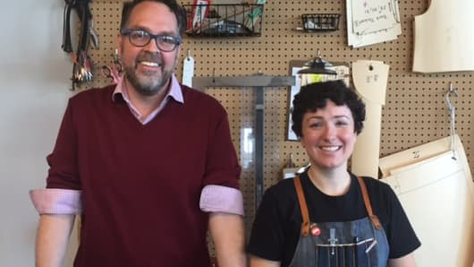 Eric Yelsma and Brenna Lane of Detroit Denim, a start-up that makes high-quality, authentic U.S.-made jeans