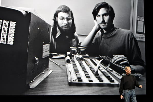 Steve Jobs, right, with his friend and co-founder, Steve Wozniak